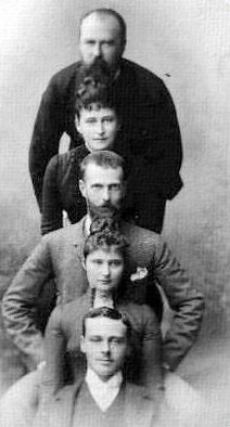 The Hesses. Stacking! Grand Duke Louis IV of Hesse, Grand Duchess Ella Feodorovna, Grand Duke Serge Alexandrovich, Princess Alix, and Prince Ernst Ludwig, 1889