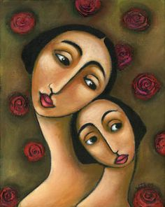 Contemporary Women & Roses Naive Folk Painting