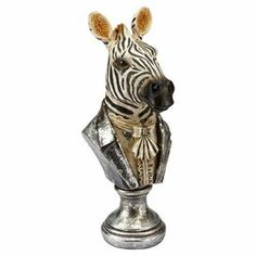 """This is the one that started it.  $29.95-Hand-painted zebra bust in Regency-era gentlemen's clothes.  Product: Bust Construction Material: Resin Color: Multi Features: Hand-painted Dimensions: 14"""" H x 5.75"""" W x 7"""" D Cleaning and Care: Wipe with soft dust cloth (Or let dust add its own patina.)"""
