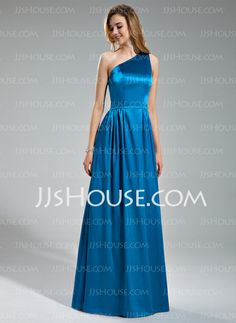 Bridesmaid Dresses - $132.29 - A-Line/Princess One-Shoulder Floor-Length Charmeuse Bridesmaid Dresses With Ruffle (007019630) http://jjshouse.com/A-Line-Princess-One-Shoulder-Floor-Length-Charmeuse-Bridesmaid-Dresses-With-Ruffle-007019630-g19630
