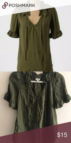Odille Green V-NEck Tie Blouse EUC. Anthropologie Tops Blouses
