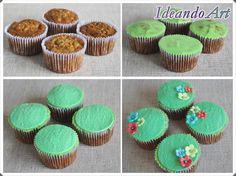 Cupcakes de zanahoria con cream cheese icing y decoración de fondant by IdeandoArt