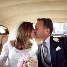 """""""When 2 become 1: Geri shared a loving kiss with the Formula One boss as they drove away from the stunning church"""" Church Ceremony, Church Wedding, Slimming World Pasta Bake, Geri Horner, Wedding Suits, Wedding Dresses, Geri Halliwell, Spice Girls, Formula One"""