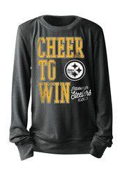Pitt Steelers Girls Black Screen Print Crew Sweatshirt
