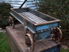 1800s Wagon Wooden Spoke Wheels Original Blue Paint Hand Brakes Patina Nr