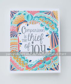 Comparison is the Thief of Joy, Motivational Quote, Inspiration, Illustration, Inspiring Quote, 8 x 10 Art Print