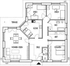 Winkelbungalow Grundriss mit 128,05 m² Wohnfläche