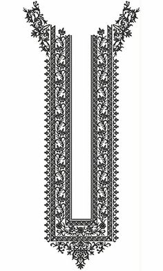 Long Arabian Neck Embroidery Design Border Embroidery Designs, Embroidery Motifs, Embroidery Dress, Beaded Embroidery, Cross Stitch Embroidery, Machine Embroidery Designs, Textile Prints, Textile Design, Embroidery Blanks