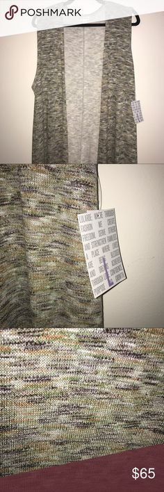 HTF BNWT LuLaRoe L Joy Green-Gray Sweater Knit HTF BNWT LuLaRoe L Joy Green-Gray Sweater Knit. This comes across as green-gray but in the zoom in you can see black, green, gray, white, yellow threads. This could go with so much. This one is SO incredibly soft!! Joys are lightweight sleeveless duster length cardigans, this one has a lightweight sweater feel. They are gorgeous to dress up a casual outfit or to jazz up a fancy outfit even more! 💕💕💕 This may fit plus due to generous sizing…