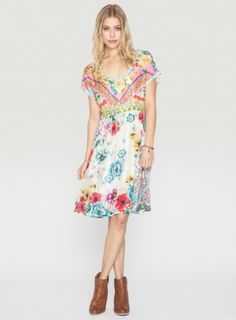 Johnny Was Printed Silk Nanette Dress #pattern #springstyle #bohochic #resortstyle