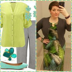 #ChubbyChique 5-11-2015 #ootd #MayPinnedItSpinnedIt Chartreuse, aqua and gray inspiration