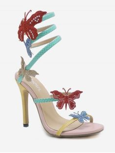 edd8f9ec810 Stiletto Heel Butterfly Twist Color Block Sandals Women s Shoes Sandals
