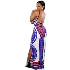 XILALU Womens Summer Boho Casual Cocktail Long Maxi Evening Party Beach Dress XL White >>> See this great product.