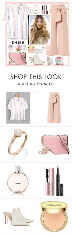 """""""Shein.Pleated Detail Printed Blouse"""" by natalyapril1976 ❤ liked on Polyvore featuring Topshop, Chanel, Too Faced Cosmetics, Gianvito Rossi and Kandee"""