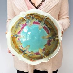 flower serving bowl from Lee Wolfe Pottery $52.00
