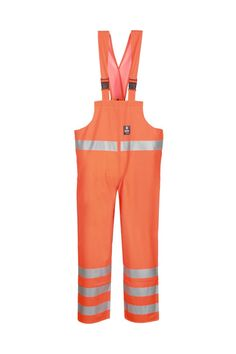WATERPROOF WARNING BIBPANTS Model: 1011R The bibpants have adjustable elasticated braces. Reflective tapes on bibpants make workers more visible. The model is made on waterproof fabric Plavitex Fluo and it has been designed to be used at unfavorable weather conditions where visibility is limited. Thanks to double welded high frequency seams the product protects against rain and wind. The bibpants conform to EN ISO 13688, EN 343 and EN ISO 20471 standards.