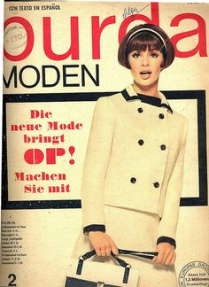 German Fashion Magazine:Burda Moden,February 1966. Fashion Cover, 60 Fashion, Retro Fashion, Vintage Fashion, Ladies Fashion, Seventies Fashion, German Fashion, Love Clothing, York