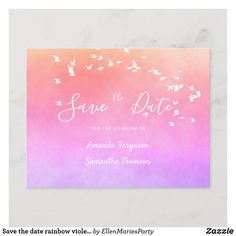 Save the date rainbow violet purple pink announcement postcard