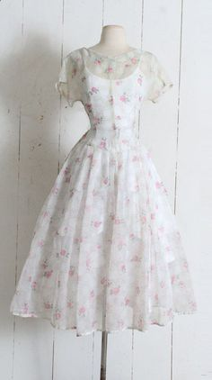 218ac74807c6 Women s Skirts -  womensskirts - Vintage 1950s Dress vintage 50s sheer  hearts and roses Womens