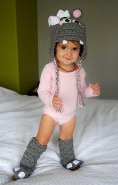 CUSTOM Hippo costume crocheted hat, leggings & tail-Custom Made to Order. $49.95, via Etsy.