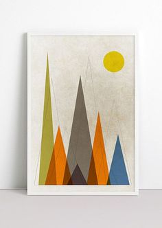 Mountains Retro Geometric Art Print Mountains are calling Triangle minimalist Mountains Print Rustic Wall Art Nursery Mid Century Home Decor by Fybur on Etsy