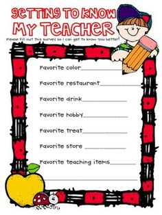 Teacher Survey... perfect to send home or put on your class website!