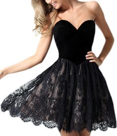 2016 New Homecoming Dress,Sexy Black velour and Lace Cocktail Dress