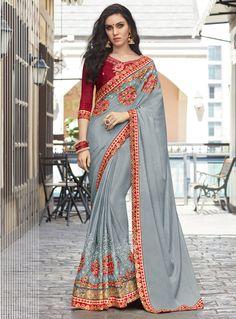 Gray Silk Party Wear Saree 116349
