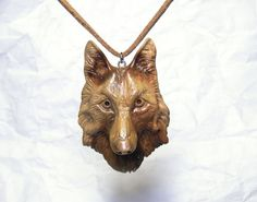 Wooden Wolf snout necklace Carved Wood face by ArsMakars on Etsy