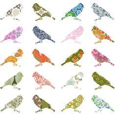 Patterned bird cutouts.