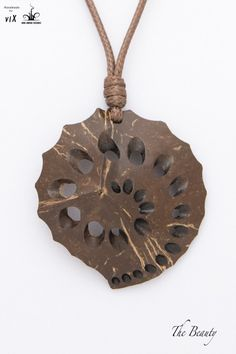 Hand Carved Brown Women Pendant From by TheBeautyJewelryShop