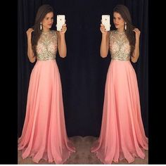 Blush 2016 Crystal Prom Dresses Beading Formal Evening Gowns Shinny Crew Neck Zip Back Floor Length Chiffon Cheap Party Gowns Online with $130.72/Piece on Kissbridal001's Store   DHgate.com