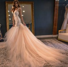 """( Champagne Wedding Dresses ) Say """"I do"""" in a gorgeous wedding dress- it's the dream of all girls. Backless Mermaid Wedding Dresses, Tulle Wedding Gown, Wedding Dress Train, Gorgeous Wedding Dress, Beautiful Gowns, Bridal Dresses, Bridesmaid Dresses, Beautiful Bride, Lace Wedding"""