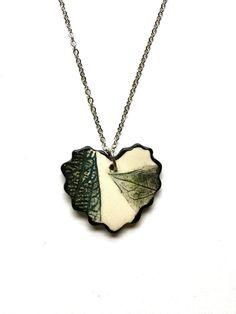 Small Black Green Ceramic Leaf Heart Pendant by AlainaSheenDesigns