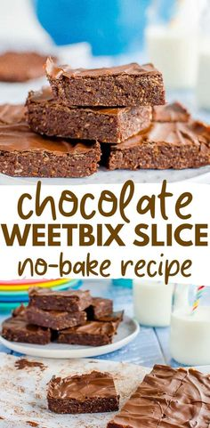No-bake chocolate Weetbix slice, easy kid-friendly recipe made with Weetabix, or wheat biscuit breakfast cereal Weetabix Recipes, Weetabix Cake, Baby Food Recipes, Sweet Recipes, Baking Recipes, Dessert Recipes, Desserts, Chocolate Weetbix Slice, No Bake Slices