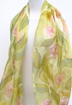 Long floral silk scarf hand painted - green light pink gold silk wrap - natural pure silk roses scarf - Pastel elegant wrap - gift for her Floral Drawing, Gold Silk, Silk Wrap, Silk Roses, Fabric Painting, Pure Silk, Pink And Gold, Hand Painted, Trending Outfits