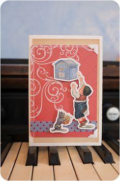 Der kleine Kerl zierte einst eine Original-Postkarte aus der Zeit zwischen 1898 und 1940. Um an den Briefkasten zu gelangen, muss er sich arg strecken :) Office Supplies, Poster, Etsy, Instagram, Mailbox, Small Dogs, Postcards, Billboard