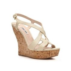 Miu Miu Pebbled Leather Wedge Sandal