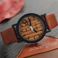 Luxe Vintage Bamboo Wood Watch | Leather Strap (Multiple Colors)