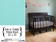 Kona Aqua Blue Crib or Toddler Fitted Sheet - Kona Cotton - 52x28 - Infant Sheet - Toddler Bed Sheet Set - Home Decor Bedding