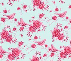 Tilda Fabric Rose Bird in Teal & Pink