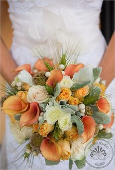 orange sage wedding flower bouquet, bridal bouquet, wedding flowers, add pic source on comment and we will update it. www.myfloweraffair.com can create this beautiful wedding flower look.