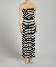 Another great find on #zulily! Black & White Stripe Strapless Dress - Women by Joyce Clothing #zulilyfinds $22.99, regular 58.00