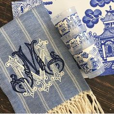 Plat du Jour Blue Willow available in paper placemats by the pad, cocktail napkins and party tumblers! Foureleven for your post! Love the monogram! We are want to say thanks if you like to share. Blue Willow China, Blue And White China, Blue Willow Decor, Elegant Home Decor, Elegant Chic, Embroidery Monogram, White Embroidery, Chinoiserie Chic, Linens And Lace
