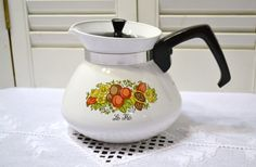 Vintage Corning Ware Teapot Spice of Life 6 Cup by PanchosPorch