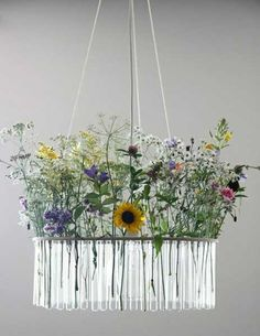 chandelier with test tubes and flowers