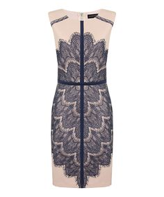 Look what I found on #zulily! Nude & Navy Lace Crystal Dress by London Dress Company #zulilyfinds