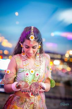 Bride Adorning Floral Jewelry On Mehendi Day in Ankita and Ricky Wedding shoot by Kabeer Grover Flower Jewellery For Haldi, Indian Wedding Jewelry, Bridal Jewelry, Flower Jewelry, Indian Bridal, Wedding Makeover, Photography Tips, Wedding Photography, Flower Makeup