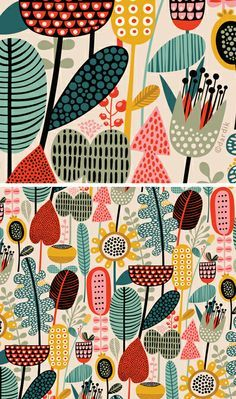 I love these patterns. via orange you lucky!: down to a floral . . . funky colourful folk art scandi style retro folklore flower repeat pattern screenprint