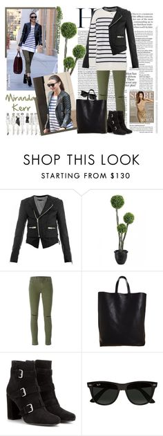 """""""Miranda Kerr - get her style !"""" by firstclass1 ❤ liked on Polyvore featuring Balenciaga, J Brand, Kerr®, CÉLINE, Yves Saint Laurent and Ray-Ban"""